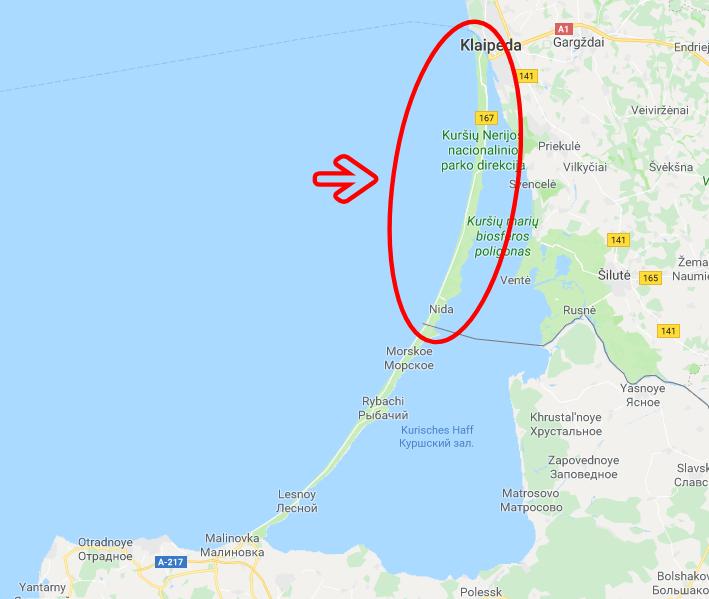 mapa istmo curlandia lituania
