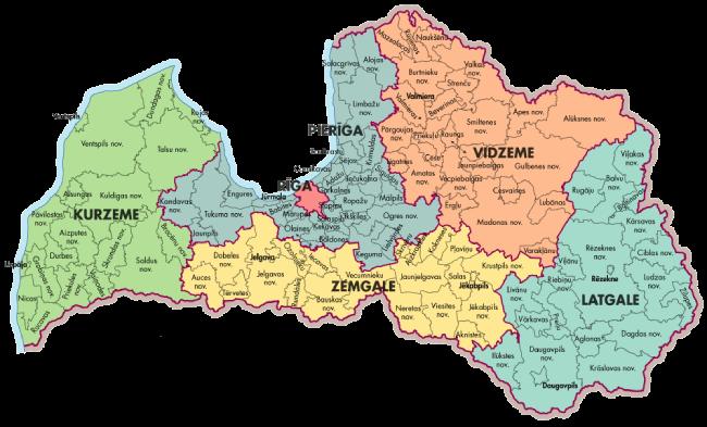 mapa regiones turisticas letonia